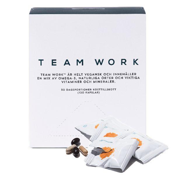 Team Work multivitamin portionsförpackning omega-3 vegansk gurkmeja komplett kosttillskott
